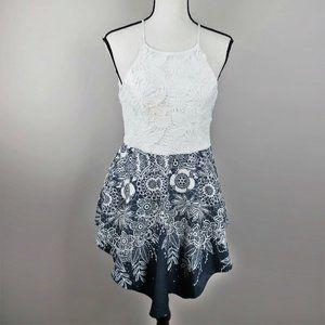 Fab'rik Handkerchief Hem Blue & White Dress Sz M